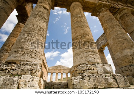 ancient Greek temple of Venus in Segesta village, Sicily, Italy - stock photo
