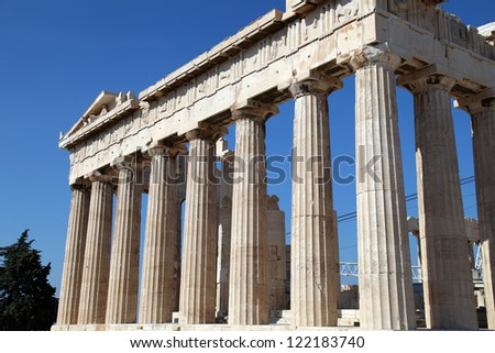 Ancient Greek temple Parthenon at Acropolis in Athens, Greece.
