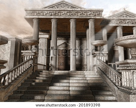 Ancient Greek temple with stairs and columns - stock photo