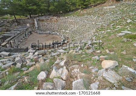 Ancient greek theater, at Pirene in western Turkey