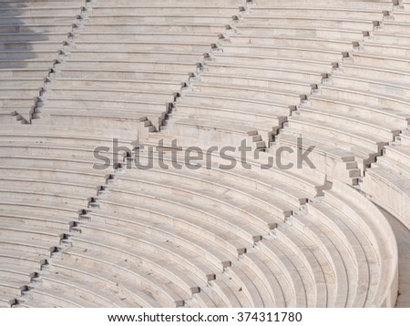 Ancient Greek theatre under Acropolis of Athens, Greece - stock photo