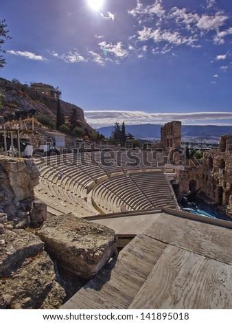 ancient Greek theatre under Parthenon temple, Acropolis of Athens - stock photo