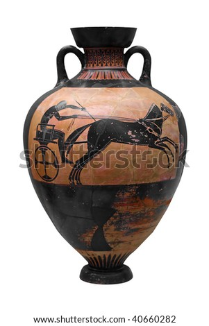 Ancient Greek Vase Depicting Chariot Isolated Stock Photo Royalty
