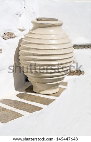Ancient greek vase from the geometric age located on Sifnos island, Greece - stock photo