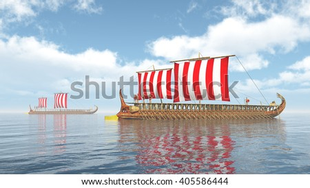 Ancient Greek Warships Computer generated 3D illustration - stock photo