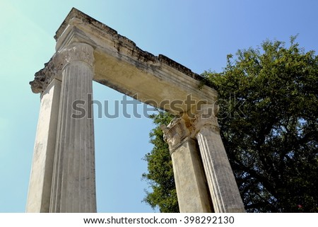 Ancient Hadrianus Gate. Ephesus (Efes), Turkey. July 2014.