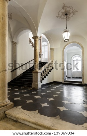 ancient hall of a classic historic building, interior - stock photo