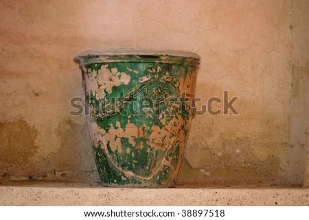 ancient handcraft vase - stock photo