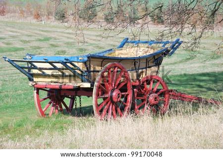 Ancient hay wagon - stock photo