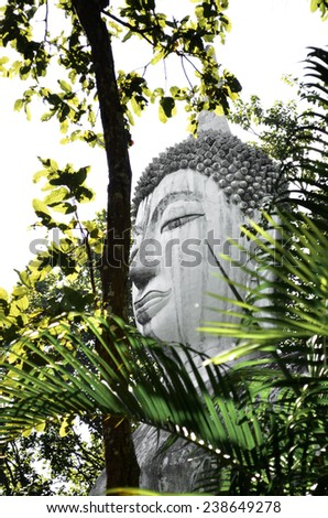 Ancient Head Buddha statue - stock photo