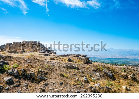 Ancient Hierapolis Ruins on a hill of Pamukkale,Turkey
