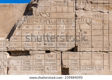 Ancient Hieroglyphs (Egyption number) of the Karnak temple, Luxor, Egypt (Ancient Thebes with its Necropolis). - stock photo