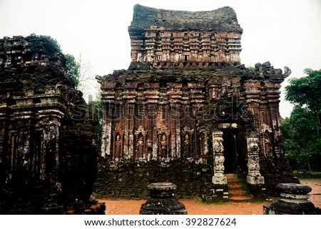 Ancient Hindu tamples of Cham culture in Vietnam near the cities of Hoi An and Da Nang. - stock photo