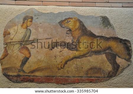 Ancient hispanic mosaic scenery - stock photo