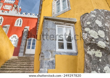 Ancient historic architecture of the castle Pena. Sintra Portugal. - stock photo