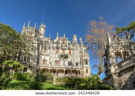 Ancient historic castle Regaleira. Portugal, Sintra. - stock photo