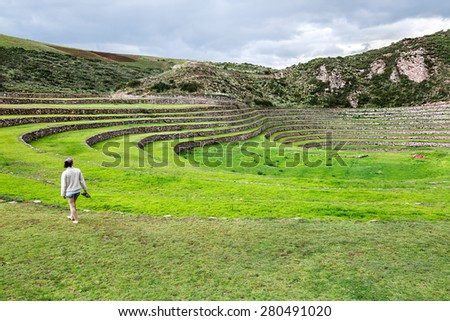 Ancient Inca circular terraces at Moray (agricultural experiment station) - Cusco Region, Peru - stock photo