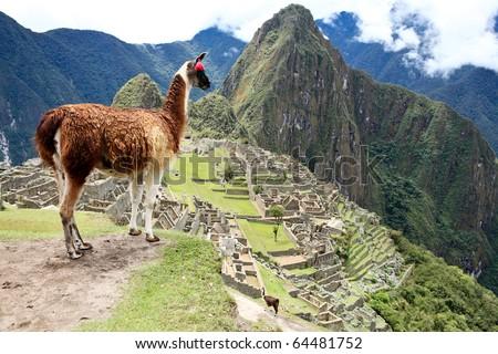 Ancient Inca lost city Machu Picchu, Peru. - stock photo