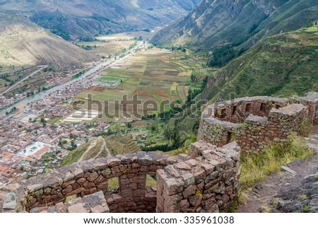 Ancient Inca's ruins in Pisac village, Sacred Valley of Incas, Peru - stock photo