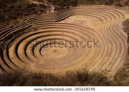 Ancient Inca terrace ruins in Moray ,Cuzco, Peru - stock photo