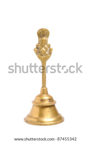 Ancient indian gold bell isolated on white