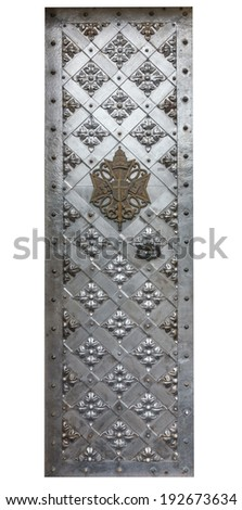 Ancient  iron gates isolation on a white background - stock photo