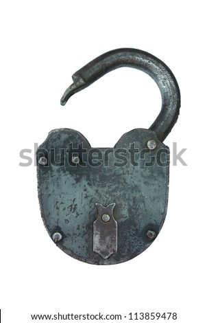 Ancient iron lock isolated on a white background - stock photo