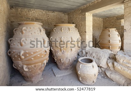 Ancient jars in Knossos Palace, Greece