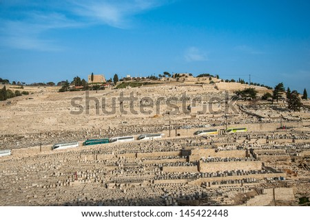 Ancient Jewish Cemetery on The Olive Mountain In Jerusalem in Kidron Valley - stock photo