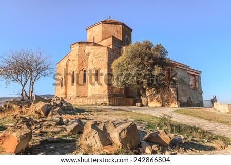 Ancient Jvari Church in Mtskheta City, Georgia - stock photo