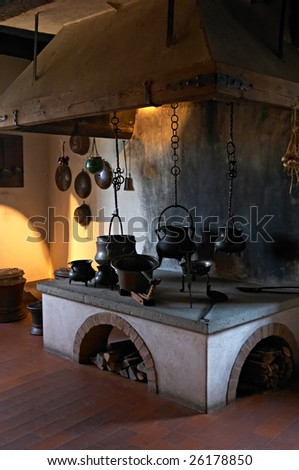 Ancient kitchen in a 13th century Kyburg castle (Switzerland) - stock photo