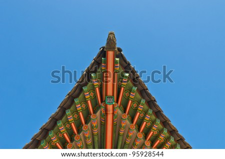 ancient korean style end roof decorative ornament - stock photo