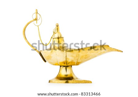 Ancient lamp isolated on the white - stock photo