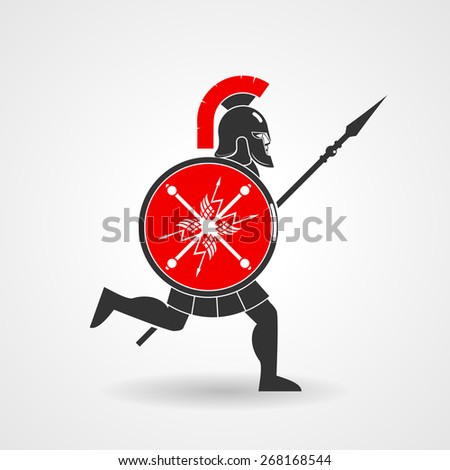 Ancient legionnaire warrior with spear and shield icon - stock photo