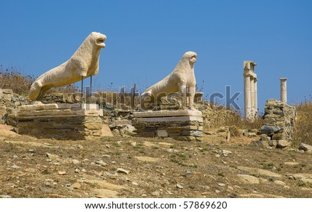 Ancient lions on Delos - Archaeological island in the Mediterranean. - stock photo