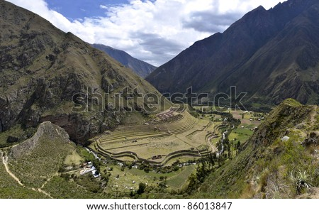 Ancient Llactapata Inca Ruins on the Inca Trail in Urubamba valley with river