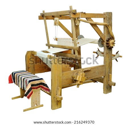 Ancient loom. on a white background.Isolated object. - stock photo