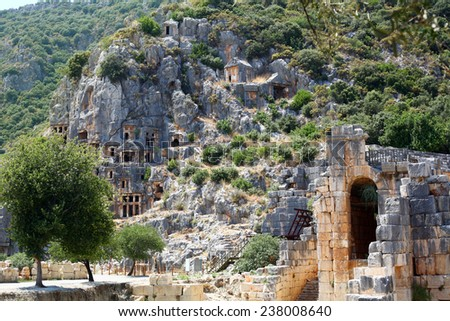 Ancient lycian tombs on the rock, Turkey - stock photo