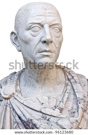 Ancient mable statue of the roman emperor Julius Caesar isolated on a white background with clipping path - stock photo