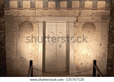 Ancient Macedonian tomb of king Philip the second found at Vergina (Aigai) in Greece - stock photo