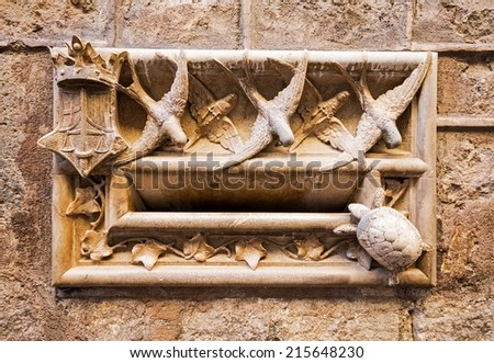 Ancient mailbox on the wall of a street of the Gothic district of Barcelona, Catalonia, Spain - stock photo