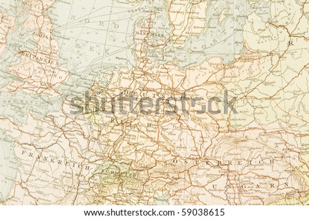 Ancient map of Germany,1895. - stock photo