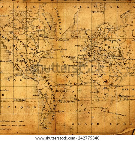 Ancient map of North and South America, Africa and Europe - stock photo