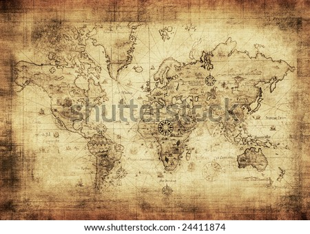 ancient map of the world - stock photo