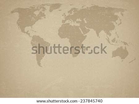 Ancient map of the world with silhouettes of continents. Raster. Added grain - stock photo