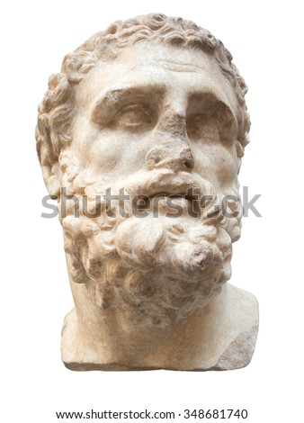 Ancient marble head of Hercules isolated on white with clipping path - stock photo