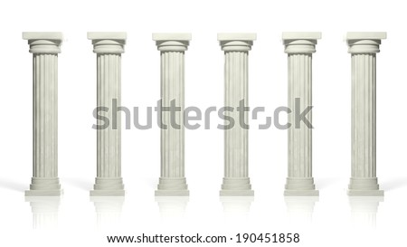 Ancient marble pillars in a row isolated on white  - stock photo