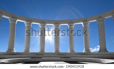 Ancient marble pillars in elliptical arrangement with blue sky  - stock photo