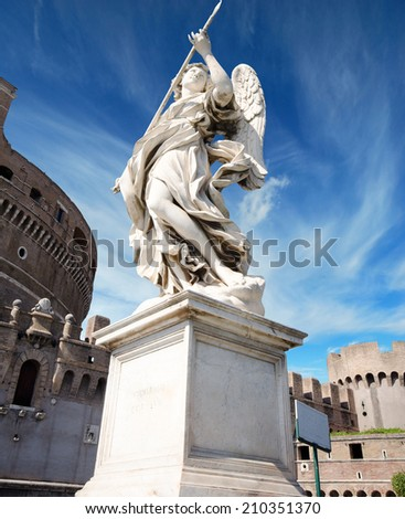 Ancient marble sculpture of angel on the bridge in Rome, Italy  - stock photo