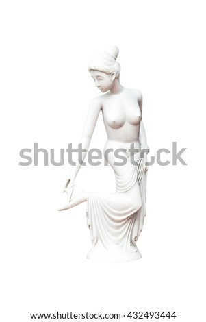 Ancient marble statue of a nude young woman isolated on white - stock photo